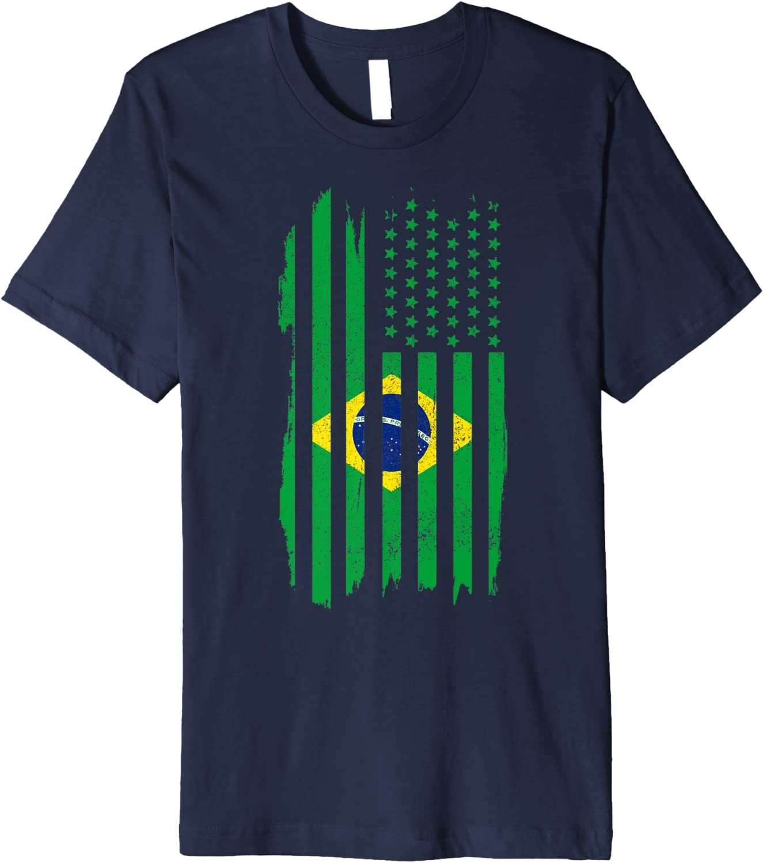 Brazil American Flag Women/'s V-Neck T-Shirt Brazilian US Pride