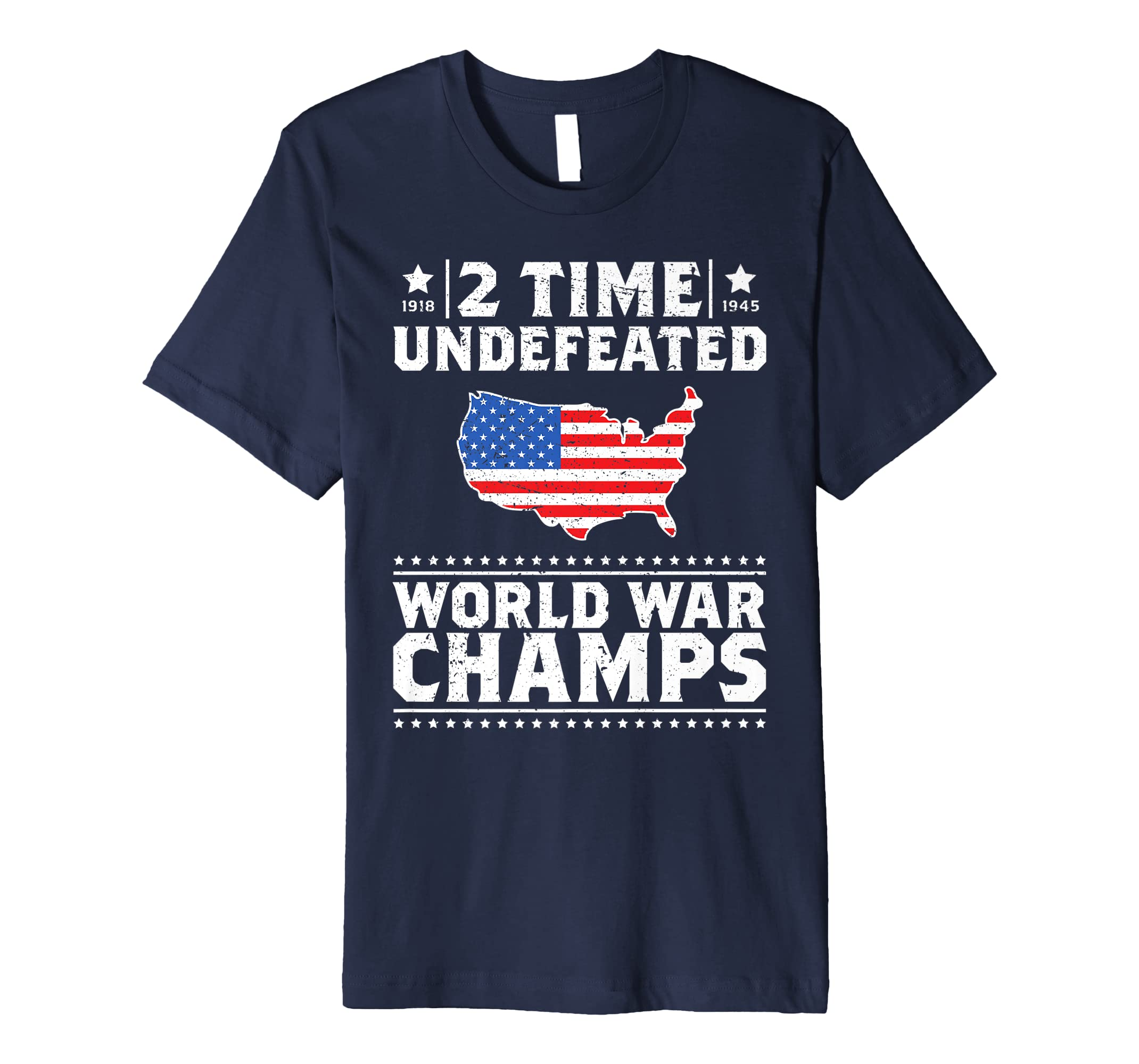 ba61e0a9 Amazon.com: Back To Back 2 Time Undefeated World War Champs Gift T-Shirt:  Clothing