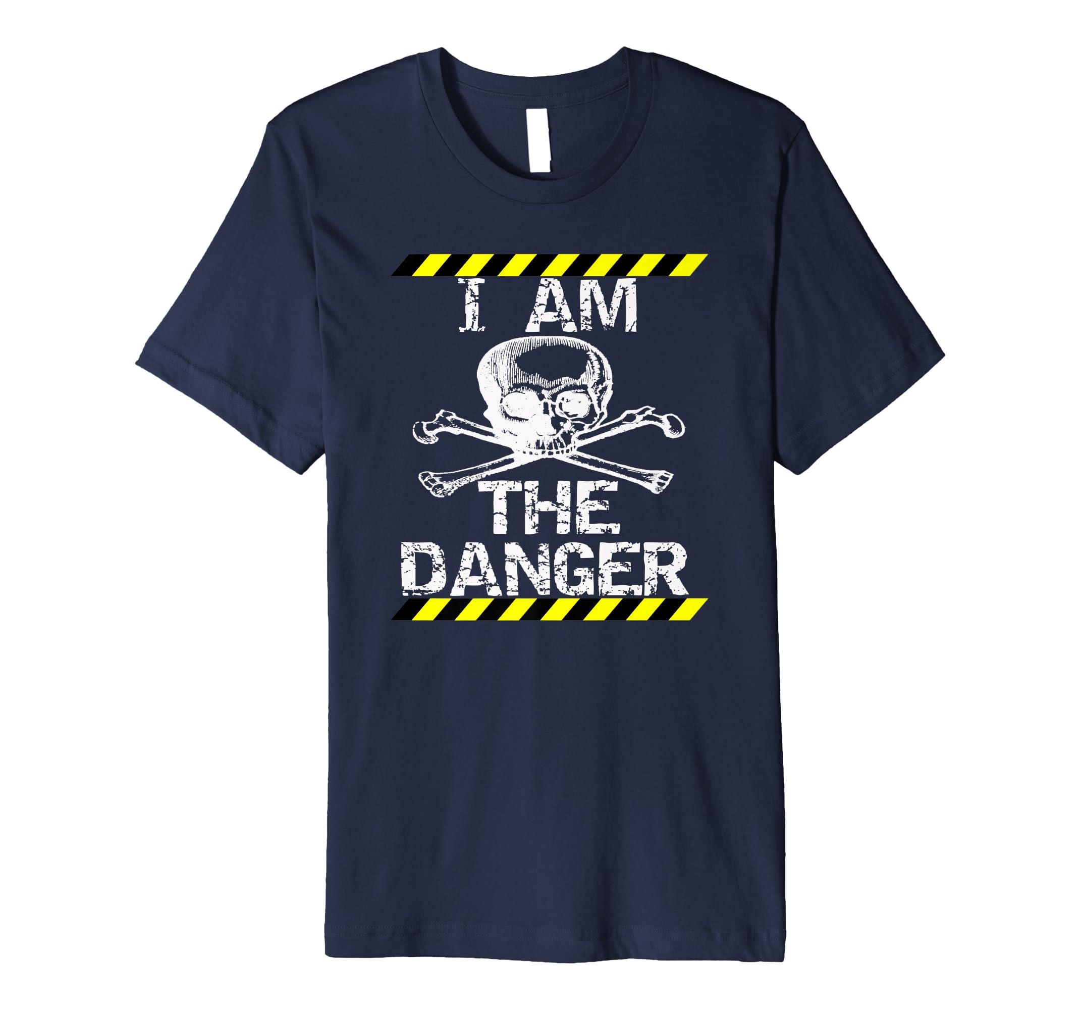 5113b47c035a Amazon.com: I am The Danger Skull Caution Tape Tshirt: Clothing