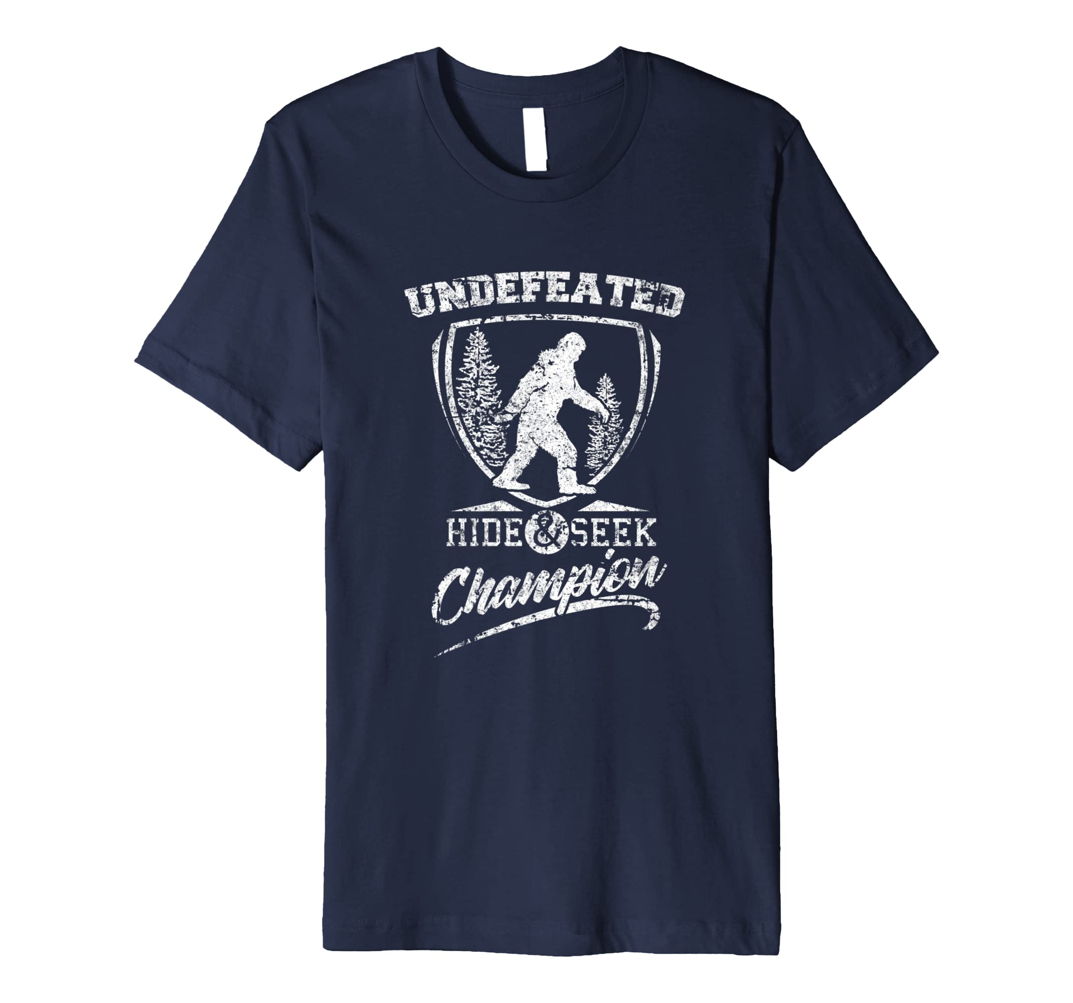 4e97689f Amazon.com: Undefeated Hide & Seek Champion Bigfoot Distressed Shirt:  Clothing