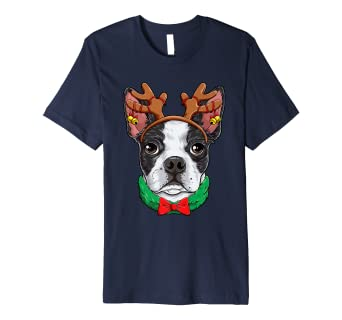 Boston Terrier Christmas Shirt Reindeer Antlers Dog Girls Amazon Co