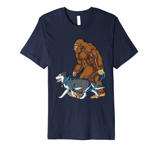 cbbf966e Image Unavailable. Image not available for. Color: Bigfoot Dog Walk  Siberian Husky T shirt Sasquatch Kids Men