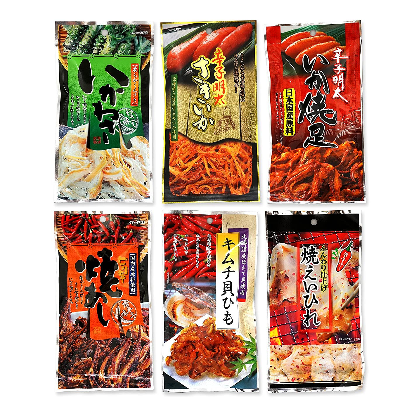 Assorted 6 Packs of Otsumami (Japanese Dried Seafood Snack eaten with Sake) Set F (Spicy Squid, etc.) Ninjapo Wrapping zyqicumsomv277