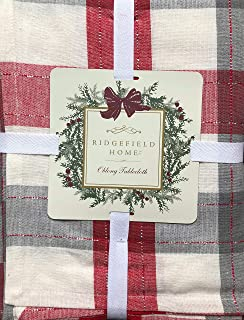 Ridgefield Home Fabric Cotton Christmas Holiday Scottish Plaid Tartan Pattern Tablecloth Shades of Red Gray White with Thin Silver Metallic Thread Stripes 60 Inches by 120 Inches