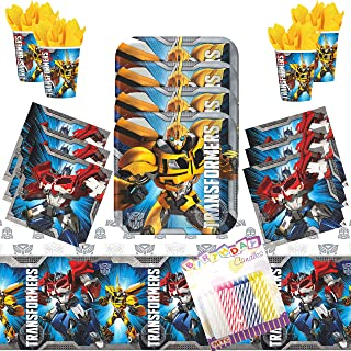 Transformers Party Supplies Pack Serves 16: Dessert Plates, Beverage Napkins, Cups, Table Cover, and Birthday Candles