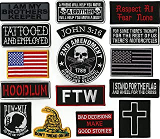 POW MIA | Dont Tread On Me | FTW | American Flag | Hoodlum | Cross | John 3:16 Small Top Rocker | Religious/Christian | Military Patches |16 Pc. Embroidered Large Patch Set | - by Nixon Thread Co.