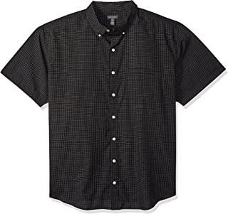 Men's Big and Tall Wrinkle Free Short Sleeve Button Down Check Shirt