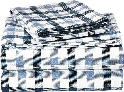 TRIBECA LIVING NAPL200EDSSQU 200-GSM Micro Plaid Printed Flannel Sheet Set,  Queen,  Multicolor