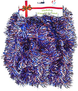 Love It! 1 Strand Patriotic, Super Ultra Lush Extra Thick Multi-Layer Foil Tinsel Garland: 25 Ft. Long Multi-color Red, Silver & Blue