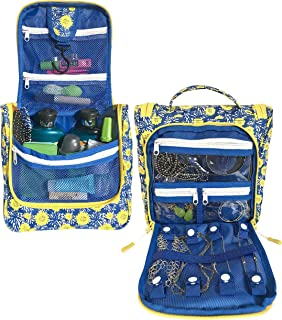 WAYFARER SUPPLY Hanging Toiletry Bag: Pack-it-flat Travel Kit, Black (flower w jewelry)
