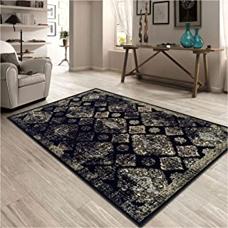 Superior Mayfair Collection Area Rug, 8mm Pile Height with Jute Backing, Vintage Distressed Medallion Pattern, Fashionable and Affordable Woven Rugs - 5' x 8' Rug, Black