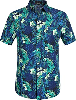 SSLR Men's Jungle Prints Casual Short Sleeve Aloha Hawaiian Shirt