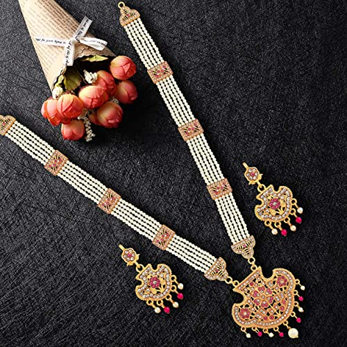 Designer Premium Hydrabadi Indian Faux Pearl Long Necklace Jewellery Set for Women