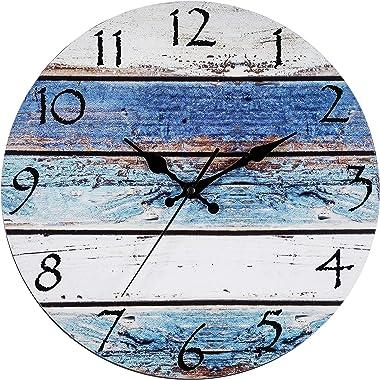 "Bernhard Products Rustic Beach Wall Clock 12"" Round, Silent Non Ticking Quartz - Battery Operated, Fiberboard Wooden Look, Vi"