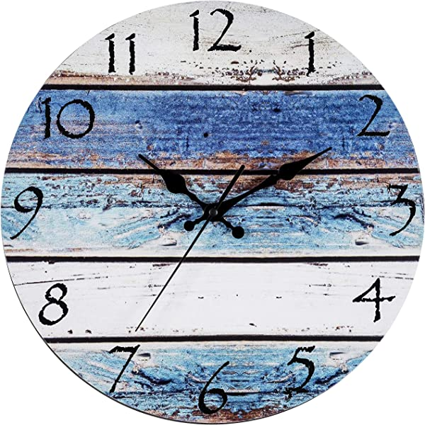 Bernhard Products Rustic Beach Wall Clock 12 Round Silent Non Ticking Quartz Battery Operated Fiberboard Wooden Look Vintage Shabby Beachy Ocean Paint Boards Nautical Decorative Clocks