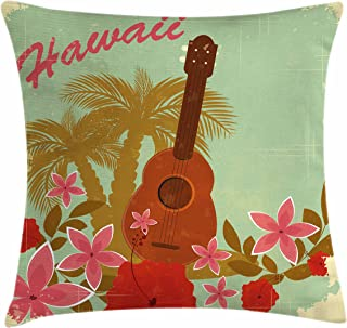 Lunarable Vintage Hawaii Throw Pillow Cushion Cover, Soft Colored Poster Design Musical Instrument Hibiscus and Tropical Flowers, Decorative Square Accent Pillow Case, 18