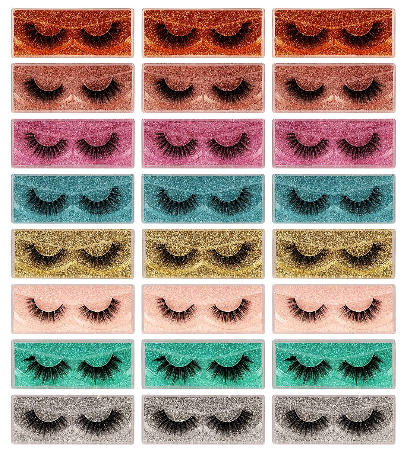 Newcally Max 58% OFF OFFer Lashes False Eyelashes 24 Mink Style Pack 8 Faux