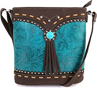 Tooled Western Leather Turquoise Stone Fringe Studded Shoulder Concealed Carry Handbag Purse