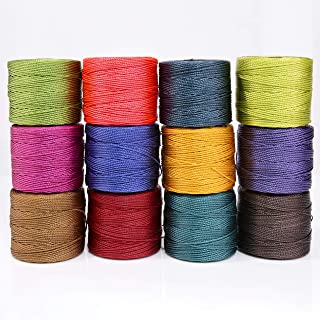S-Lon Cord Saturation Mix #18, 0.5mm thick, 12 bobbins per pack, in Winette, Green Blue, Hyacinth, Dark Teal, Chartreuse, Light Gold, Avocado, Milk Chocolate, Magenta, Red Hot, Med Purple Bright Coral