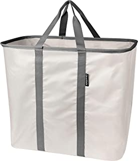 CleverMade Collapsible Laundry Tote, Large Foldable Clothes Hamper Bag, LaundryCaddy CarryAll XL Pop Up Storage Basket with Handles, Cream/Charcoal