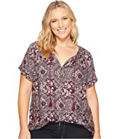 Lucky Brand - Plus Size Short Sleeve Peasant Top