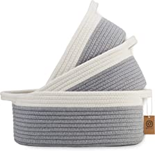 NaturalCozy 3-Piece Cotton Rope Baskets with Handles - 100% Natural Cotton! Oval Woven Storage Basket Set, Toy Basket, Sma...