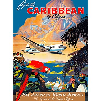 A SLICE IN TIME Fly to The Caribbean Pan American World Airways Parrot Vintage Travel Home Collectible Wall Decor Advertisement Art Poster Print. 10 x 13.5 inches
