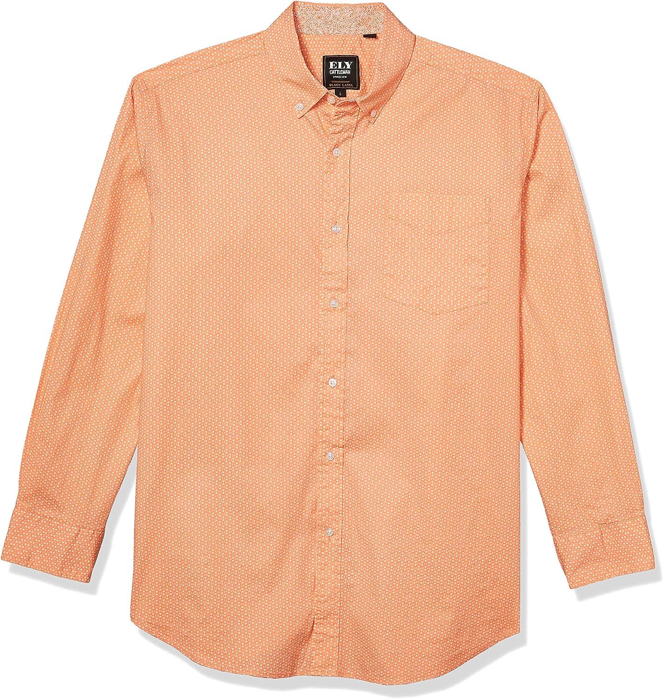 ELY CATTLEMAN Men's Black Label Premium Cotton Poplin Print Long Sleeve Button-Down Shirt