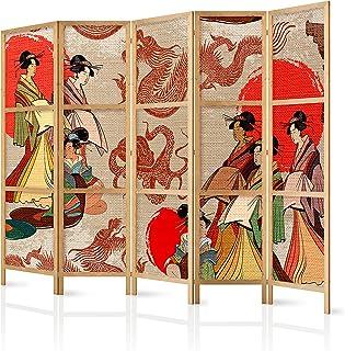 comprar comparacion murando - Biombo XXL Geisha 225x171 cm 5 Paneles Lienzo de Tejido no Tejido Tela sintética Separador Madera Design de Moda...