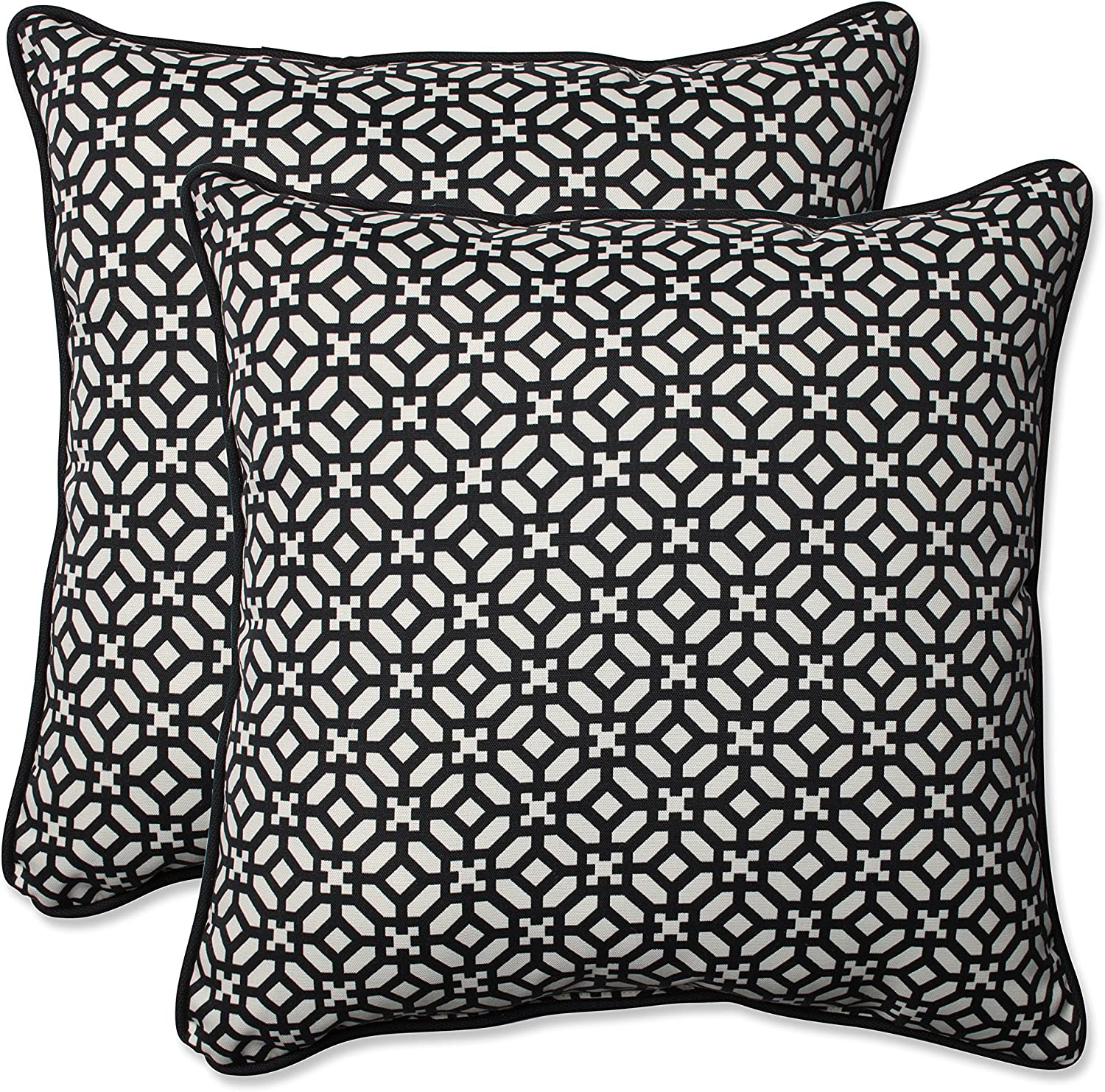Pillow Perfect Outdoor Indoor in The Frame Ebony Throw Pillow (Set of 2), 18.5