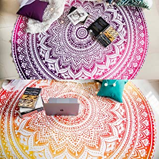 Set of 2 Round Beach Blanket or Mandala Tapestry Hippie Indian Picnic Table Cover Hippy Spread Boho Gypsy Cotton Tablecloth Beach Towel Meditation Rug Circle Yoga Mat - 72 Inches, Yellow and Pink