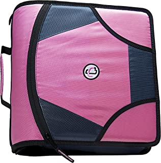 Case-it King Sized Zip Tab 4-Inch D-Ring Zipper Binder with 5-Tab File Folder, Pink, D-186-PNK