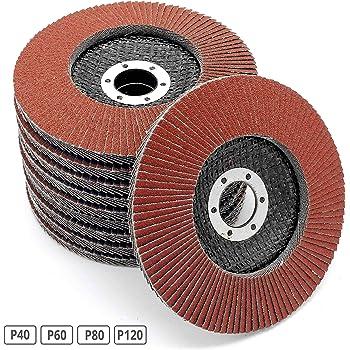 Grain m/élang/é 5 grains 40//60//80//120 Disque /à lamelles Standard Lot de 20 disques /à lamelles Plateau /à aff/ûter Marron Disque abrasif /Ø 125 mm x 22,23 mm