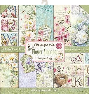 """Stamperia Bloc Papier Scrap double Face 10 feuilles 30,5x30,5 (12""""x12"""") - Alphabet avec fleurs, Multicolore, 5cm"""
