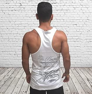 Men's White Tank Top Sleeveless Vest, Size S, Dragon Printed, Training Sports Everyday Wear for Men