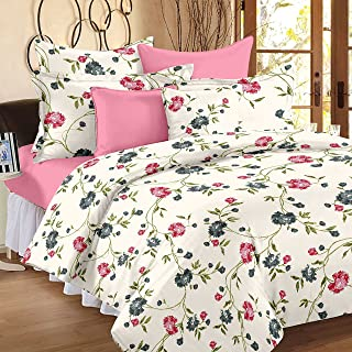 HUESLAND by Ahmedabad Cotton Comfort 144 TC Cotton Double Bedsheet with 2 Pillow Covers - Cream, Pink and Green