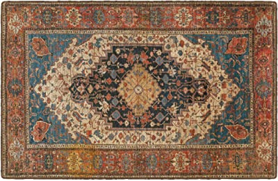 """Brumlow Mills Danyon Antique Distressed Traditional Print Washable Indoor or Outdoor Rug for Living or Dining Room, Bedroom and Kitchen Area, 30"""" x 46"""""""