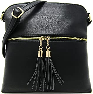 Faux Leather Light Weight Medium Crossbody Bag and Large Capacity Purse with Adjustable Shoulder Strap