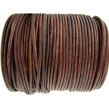 32 pezzi Cordoncino rotondo in pelle per bracciali 1 mm collane in tinta unita marrone chiaro
