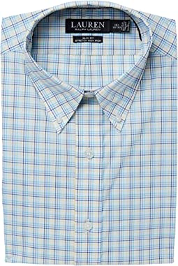 Stretch Slim Fit No-Iron Plaid Dress Shirt