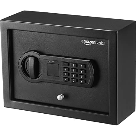 Amazon Basics Small, Slim Desk Drawer Security Safe with Programmable Electronic Keypad - 11.8 x 8.6 x 4.4 inches