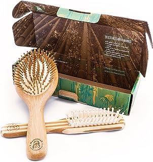 Conjunto de cepillos de pelo con bambú natural, el mejor cepillo que desenreda de forma suave para todo tipo de cabellos para hombres y mujeres, por Marbeian.