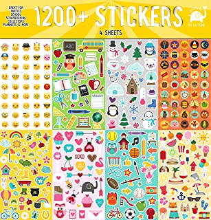 Josephine on Caffeine Year Round Sticker Assortment Set (1200+ Count) Collection for Children, Teacher, Parent, Grandparent, Kids, Craft, School, Planners & Scrapbooking