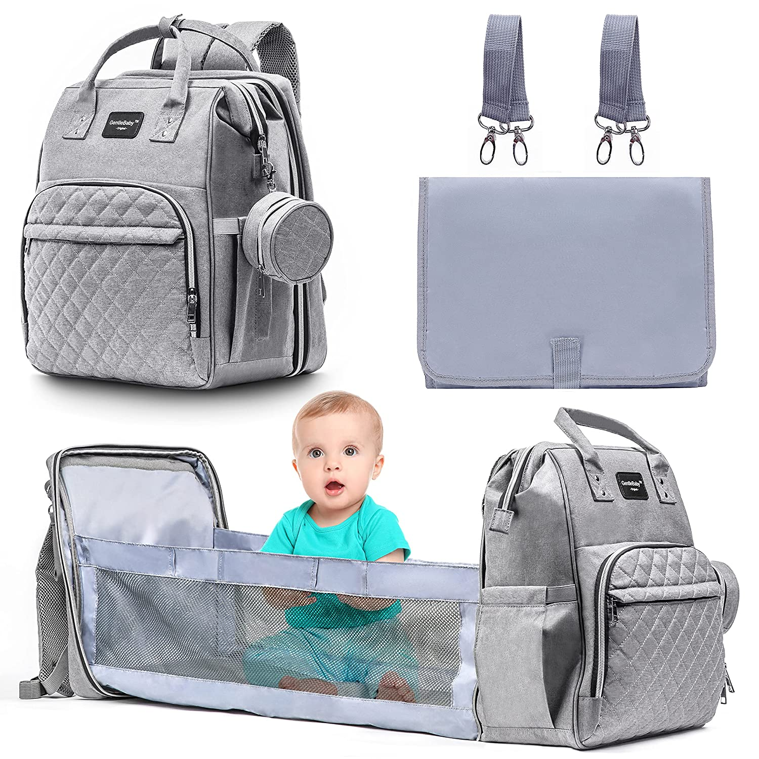 Baby Diaper Bag Backpack with Changing Station - Stylish 3 in 1 for Boys & Girls - Waterproof, Large Capacity, PacifierCase, Bassinet, Pad, Stroller Straps, Travel, Bed, Gift mom dad– Gray/Grey