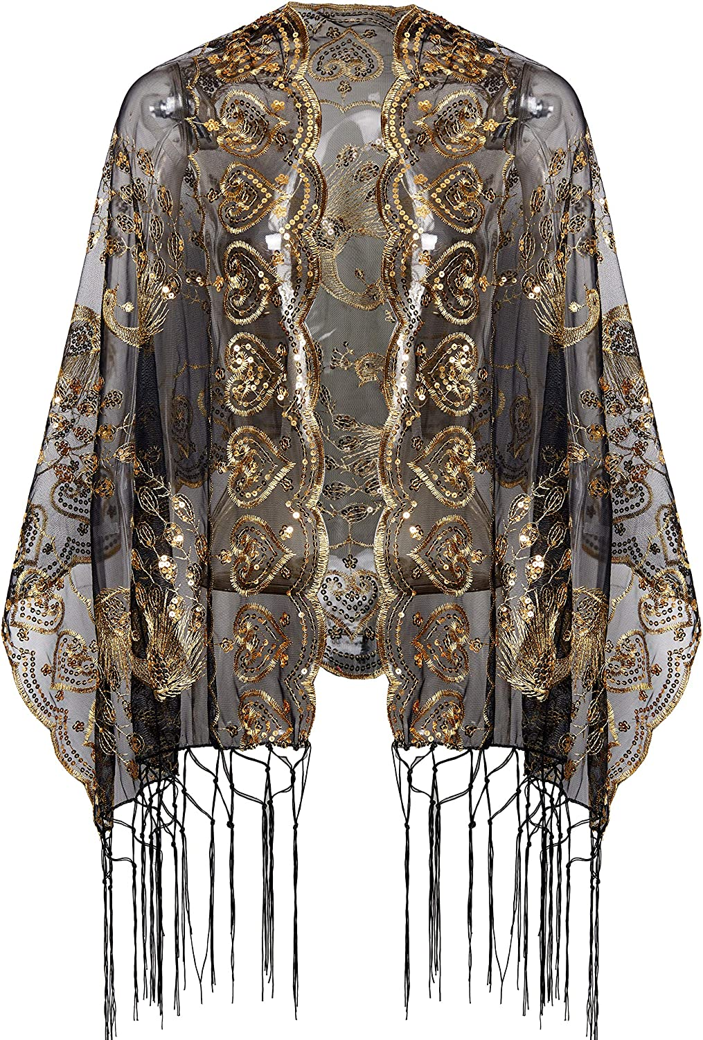 BABEYOND 1920s Sequined Peacock Shawl Fringed Max 61% OFF Cape free Evening Wraps