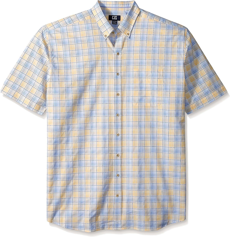 Cutter & Buck Men's Big-Tall Short-Sleeve Anchor Plaid Shirt