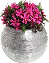small silver vase with flowers