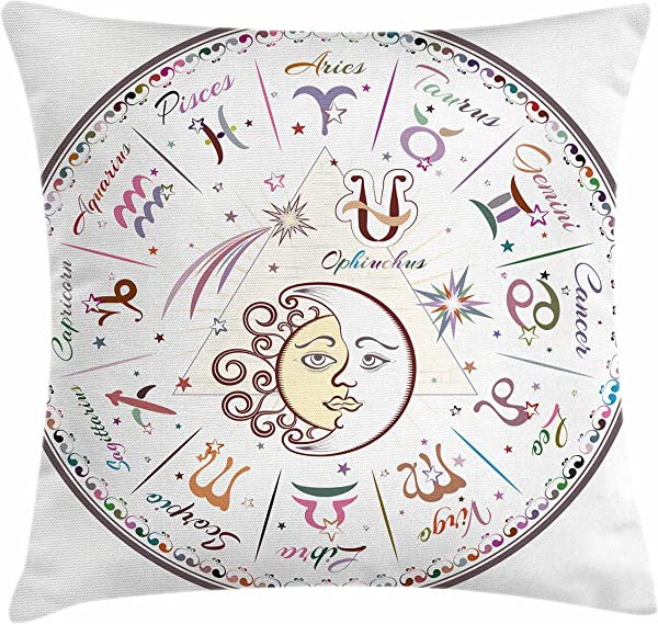Ambesonne Zodiac Throw Pillow Cushion Cover Western Chart With All Signs Aries Virgo Leo Taurus Libra Mystique Fate Calendar Decorative Square Accent Pillow Case 18 X 18 Pastel Pink