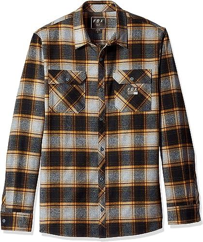 Fox Racing Hommes's Traildust Flannel Cheq Buttondown Shirts HTR Graphite marron M