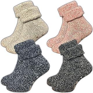 GAWILO Lot de 4 paires de chaussettes pour femme - Chaussettes en laine ABS - sans coutures - Intérieur en éponge douce - ...